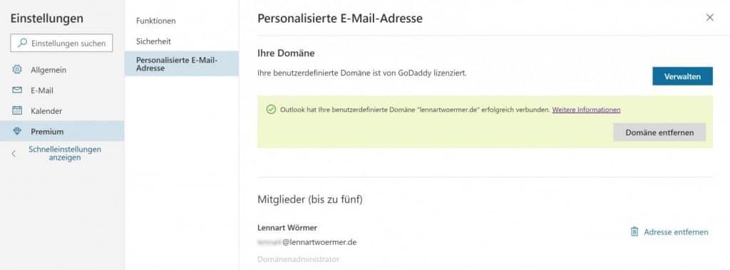 Outlook Domain GoDaddy 10