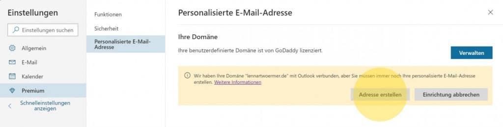 Outlook Domain GoDaddy 7