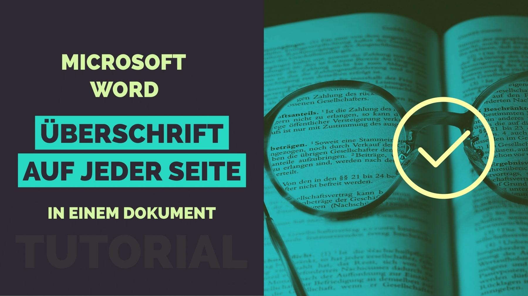 Microsoft Word Aktuelle Ueberschrift auf jeder Seite Titelbild