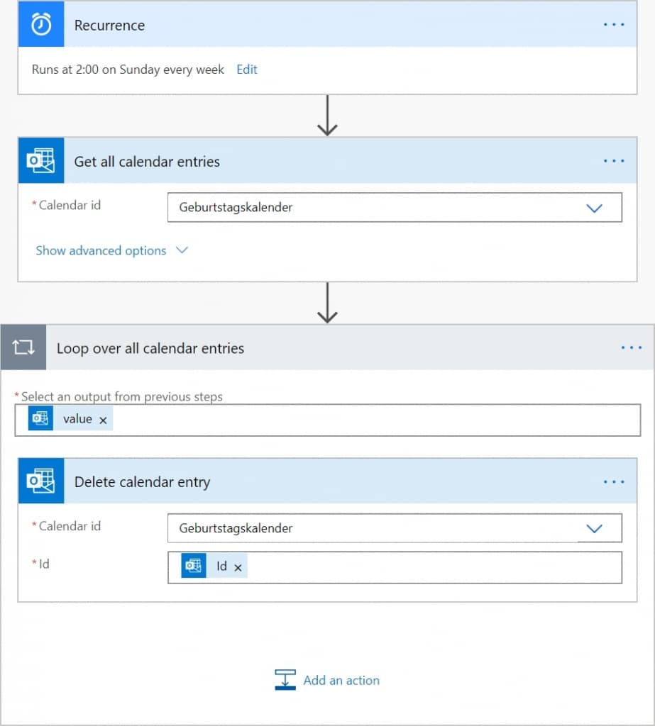 Create Outlook Birthday Calendar from Contacts Flow 2 Details